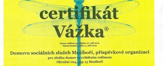 Certifikát Vážka