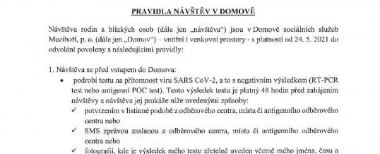 Nová pravidla návštěv v Domově od 24. 5. 2021